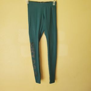 Nike Dri Fit Teal Athletic Workout Full Length Leggings Just Do It XS